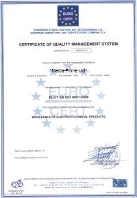 Certificate of quality management system ISO